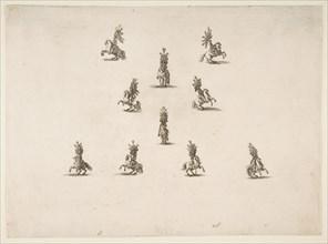 Ten Cavaliers Including Five Forming a V, 1652. Creator: Stefano della Bella.