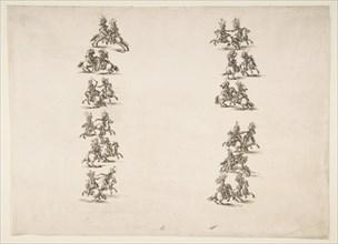 Twenty-four Cavaliers Fighting in Two Columns, 1652. Creator: Stefano della Bella.