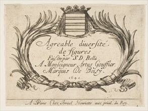 Plate 1: Two palms and a coat of arms frame the title and dedication, title page for 'Vari..., 1642. Creator: Stefano della Bella.