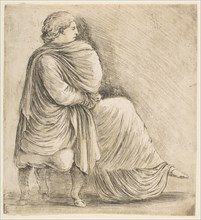Seated Woman in Profile after Antique Bas Relief, ca. 1660. Creator: Stefano della Bella.