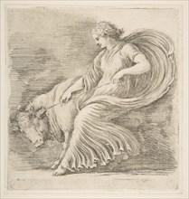 Young Woman Trying to Stop a Bull, ca. 1660. Creator: Stefano della Bella.