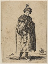 Polish man with a mustache wearing a fur coat and a hat with a feather, ca. 1648. Creator: Stefano della Bella.