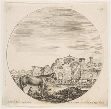 Plate 12: a shepherd sleeping on the ground at right, three horses at left, other hors..., ca. 1646. Creator: Stefano della Bella.