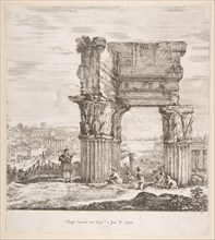 The Temple of Vespasian and the Roman Forum, from 'Six large views, four of Rome, and two ..., 1656. Creator: Stefano della Bella.