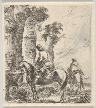 Plate 19: a rider making his horse drink from a basin of a fountain at left, another h..., ca. 1646. Creator: Stefano della Bella.