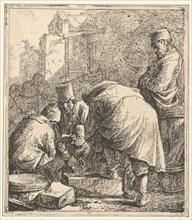 Man Adjusting His Footwear, at Left Three Men Playing Cards, 1630-77. Creator: Thomas Wijck.