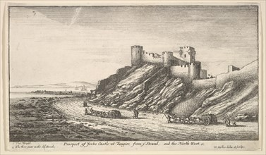 Prospect of Yorke Castle at Tangier, from ye Strand, and the North-West, 1669-73. Creator: Wenceslaus Hollar.