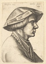 Head of young man wearing hat in profile to right, 1648. Creator: Wenceslaus Hollar.