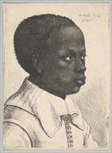 Head of a young black boy in profile to right, 1645. Creator: Wenceslaus Hollar.