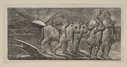 Boy Returning Joyfully, with Plough and Oxen, from Thornton's Pastorals of Virgil, 1821. Creator: William Blake.