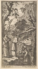 The New Metamorphosis, Plate 7: The Cardinal, a Hermit and Donna Angela Holding Fantasio, 1724. Creator: William Hogarth.