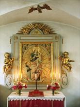 Altar in the chapel of Tido Castle, Vasteras, Vastmanland, Sweden. Creator: Unknown.