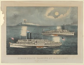 Steamboats Passing at Midnight - On Long Island Sound
