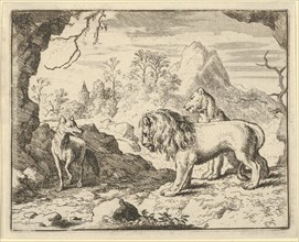Renard Convinces the Lion and Lioness of Finding a Treasure His Father Stole from Them. From Hendrick van Alcmar's Renard The Fox