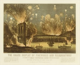The Grand Display of Fireworks and Illuminations at the Opening of the Great Suspension Bridge between New York and Brooklyn on the Evening of May 24