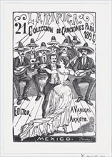 A couple dancing while a band plays music in the background, illustration for 'La Tipica,' published by Antonio Vanegas Arroyo, 1894.