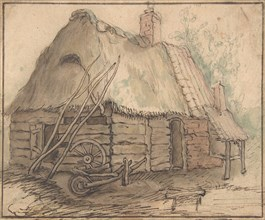 A Farm Building; verso: Head of a Woman and Slight Sketch of Woman Holding a Child, late 16th-mid-17th century.