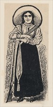 A female soldier standing, ca. 1880-1910.