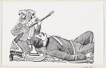 A revolutionary holding a rifle and kneeling to protect a fallen revolutionary, ca. 1880-1910.