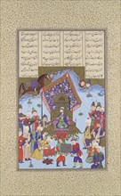 Afrasiyab on the Iranian Throne, Folio 105r from the Shahnama (Book of Kings) of Shah Tahmasp, ca. 1525-30.
