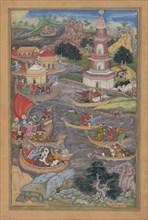 Alexander Fights a Sea Battle, Folio from a Khamsa (Quintet) of Amir Khusrau Dihlavi, 1597-98.