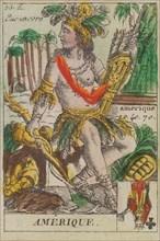 Amerique from Playing Cards (for Quartets) 'Costumes des Peuples Étrangers', 1700-1799.
