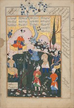 Birth of Zal, Folio from a Shahnama (Book of Kings), 1576-77.