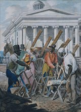Black Sawyers Working in front of the Bank of Pennsylvania, Philadelphia, 1811-ca. 1813.