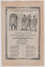 Broadsheet relating to the capture of the outlaw Valentín Mancera: guitarist singing in a doorway, as two soldiers escort Mancera, ca.1902.