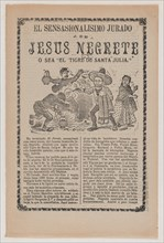 Broadsheet relating to the sensational trial of Jesus Negrete 'El tigre de Santa Julia' on account of a shootout with police in 1906, description in the bottom section, 1908.