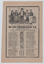 Broadsheet with monthly horoscopes; a group of women surrounding one man and a crowd of people raising their arms, 1903.