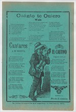 Broadsheet with three love songs; a man singing and playing the guitar, ca.1900-1920 (published).