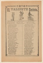 Broadside about a brave man from the west coast of Mexico, who is shown walking down a street wearing a sombrero, ca. 1899.