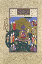 Buzurjmihr Appears at Nushirvan's Fifth Assembly, Folio 622r from the Shahnama (Book of Kings) of Shah Tahmasp, ca. 1530-35.