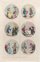 Caricature Medallions for Screens &c: A Morning Visitor, An Evening Visitor, A Welcome Visitor, A Noon Visitor, A Night Visitor, An Unwelcome Visitor, April 1, 1800.