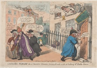 Chelsea Parade or a Croaking Member Surveying The Inside Outside and Backside of Mrs Clarke's Premises, March 4, 1809.