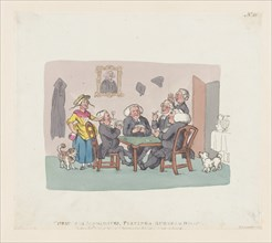Christmas Academics Playing a Rubber at Whist, April 1, 1803.
