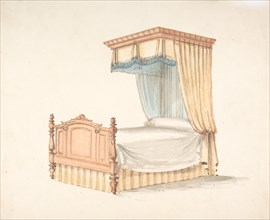 Design for a Bed with Yellow and Blue Fringed Hangings, early 19th century.