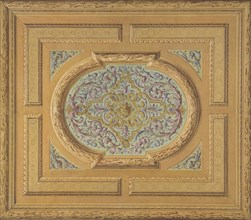 Design for a ceiling decorated with bands of oak leaves and a central panel of scrolls and rinceaux, 1830-97.