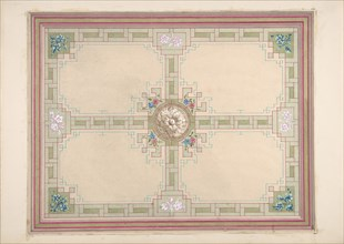 Design for a ceiling with floral accents and Greek key border, second half 19th century.