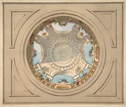 Design for a ceiling with trompe l'oeil balustrade, second half 19th century.