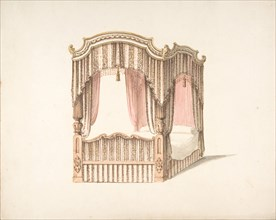 Design for a Curtained Four Poster Bed with Brown, Pink and White Striped Curtains, early 19th century.