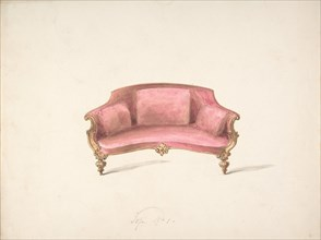 Design for a Curved-back Sofa Upholstered in Red, early 19th century.