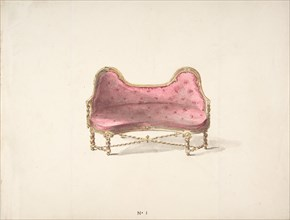 Design for a Double Hump-backed Sofa with Turned Legs and Arms, with Red Tufted Upholstery, early 19th century.