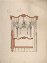 Design for a Four-poster Bed with Draperies, 1840-99.