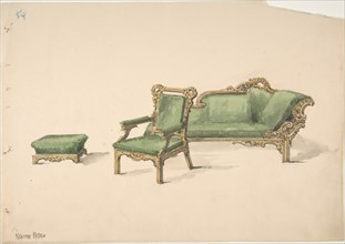 Design for a Gilded Settee, Arm Chair and Footstool with Green Upholstery, early 19th century.