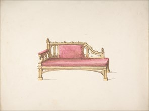 Design for a Gothic Style Sofa Upholstered in Red, early 19th century.