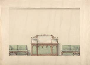 Design for a Mirrored, Marble-topped Cabinet and Two Sofas, early 19th century.