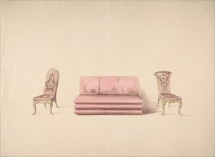 Design for a Pink Sofa and Two Mauve Chairs, early 19th century.