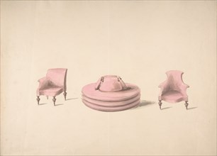 Design for a Round Pink Sofa and an Armchair and a One-armed Chair, early 19th century.
